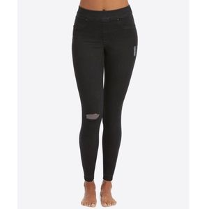 Spanx Black Raw Hem Distressed Skinny Jeans